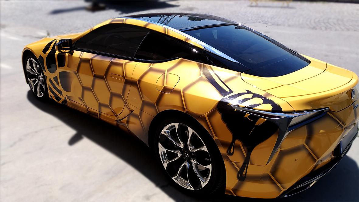 цялостно облепване на Lexus LC 500 с печатано фолио